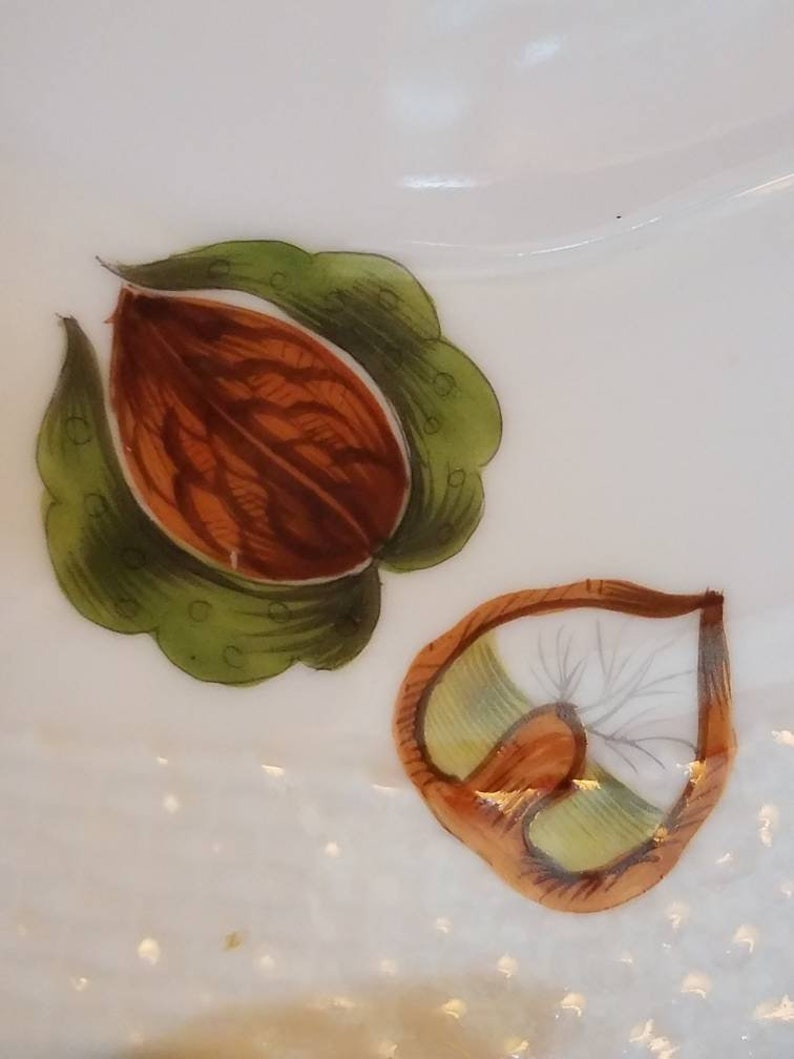 SHIPS FREE Herend Market Garden 8 Dessert Pie Plate Fruit Vegetable Nuts Insects Leaves Basket Weave Gold Trim
