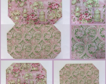 TEA TIME PLACEMATS/ Reversible/ Pink/ Set of 4 or 6/ Pink And Green Paisley On The Reverse