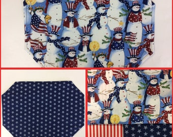 PATRIOTIC REVERSIBLE PLACEMATS/Christmas In July/Red, White & Blue/Snowman/Set Of 4 Or 6