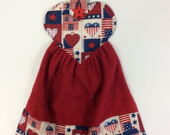 PATRIOTIC HANGING TOWEL/Heart And Home/Oven Towel/Refrigerator Towel/Star Button