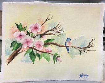 Le Plus Petit Oiseau -A watercolor painting by Wendy Margrave
