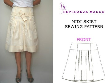 MIDI pleated skirt - Sizes 6, 8, 10, 12. Women's PDF SEWING Pattern  for every Fabrics,  pdf pattern for sewing midi skirt