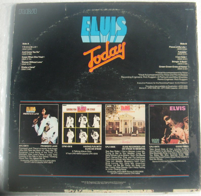 Elvis Today vinyl LP 1975 Good condition some visible wear