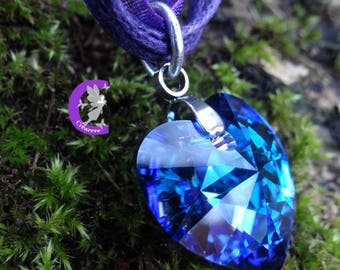 Color heliotrope swarovski crystal heart pendant