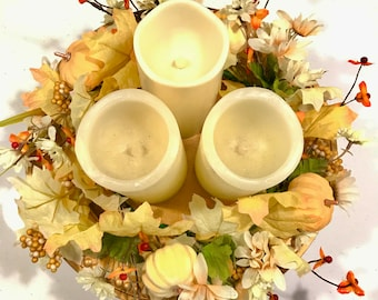 Fall Floral and pumpkin wreath, Fall candle wreath