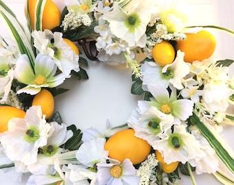 SALE!!!Lemon Wreath for Front Door, Lemon Door Wreath, Wreath with Fruit, Lemon Decor Kitchen, Wreath with Lemons
