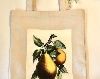 Pear botanical printed cotton tote bag, Printed canvas tote bag, Vintage Botanical tote bag