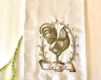 Farmhouse tea towels, kitchen dish towel, rooster tea towel, French country
