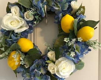 Lemon and hydrangea wreath, summer wreath for front door, Lemon  decor, Lemon door wreath