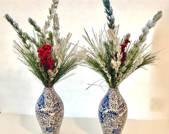 Set of 2 Holiday Greenery Floral Arrangements, Christmas Greenery Centerpiece