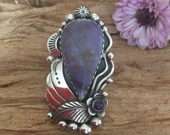 Burro Creek Jasper and Amethyst Statement Ring/ Artisan Handmade/ Sterling Silver/ Southwestern/ size 9