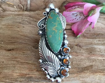 Green Turquoise Statement ring, Big ring, Artisan Handmade, Sterling silver, Southwestern Style, Size 9