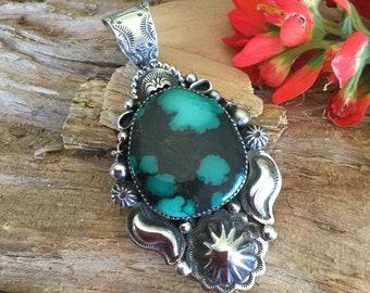 Turquoise Pendant, Sterling Silver, Artisan Handmade
