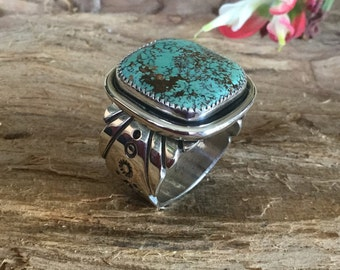 Mens Natural Royston turquoise ring/ Artisan Handmade/ Sterling Silver/ Southwestern Jewelry/ size 12