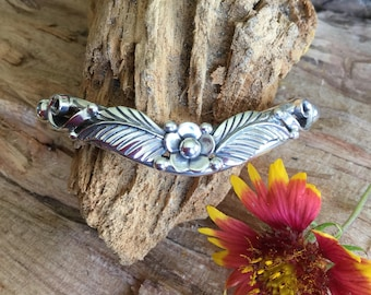 Sterling Silver Leaf and Flower Cuff Bracelet/ Artisan Handmade