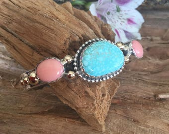 Number Eight Spiderweb Natural Turquoise with Pink Coral and 14kt Gold Raindrops, Stacker Cuff Bracelet, sterling silver, Artisan Handmade