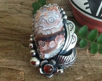 Laguna Agate with a Carnelian wildflowers/ Artisan handmade ring/ Sterling silver/ Native American Southwestern Style/ size 7 1/4