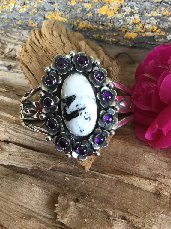 White buffalo turquoise ring with Black Onyx wildflowers~FLORA de SANTA FE~Southwestern Jewelry~Sterling Silver~Artisan Handmade