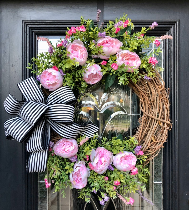 Farmhouse Wreath Peony Wreath Wreath for front door Pink image 0