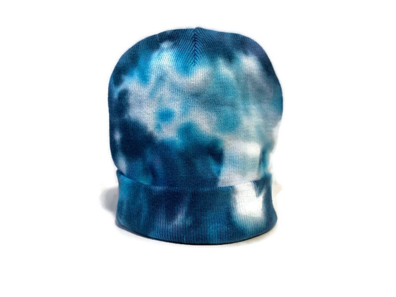 Deep Blues Tie-Dye Beanies