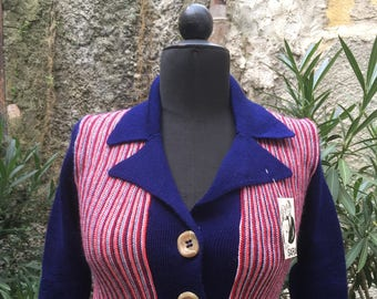 Vintage ' 70 blue and red cardigan new