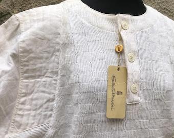 Vintage original 80s new italian white blouse cotton and linen