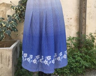 Polka dot original 70s light blue and white skirt