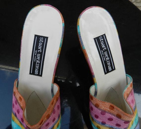 Vintage 90s colorful heel mules Stuart Weitzman - image 5