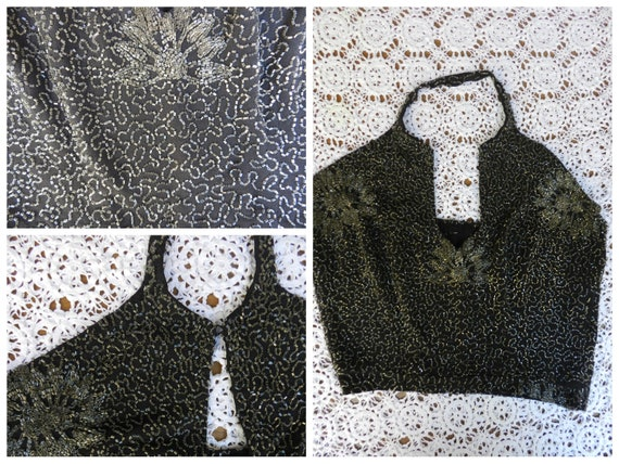 Vintage 70s refined grey rich beads embroidery hal