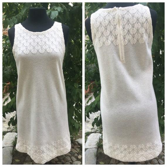 Original 60s white mini dress, embroidered wool fa