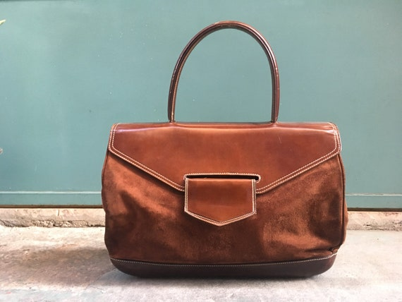 Vintage 90s chocolate brown suede and leather hand