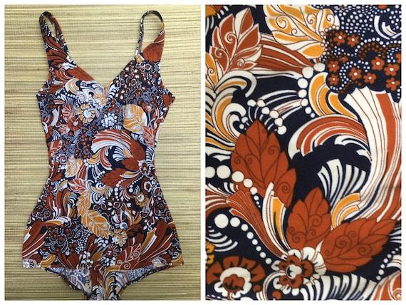 Vintage 60s blue floral pattern swimsuit