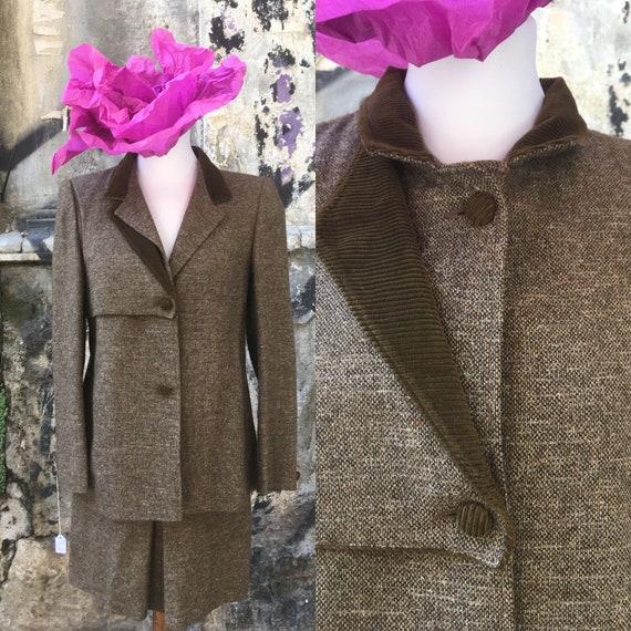 Vintage 1980s green wool and velvet suit, vintage