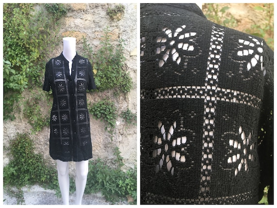 Vintage 70s black cotton crochet cover-up dress