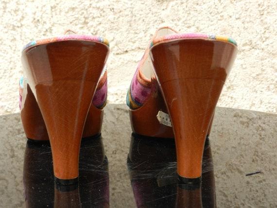 Vintage 90s colorful heel mules Stuart Weitzman - image 6