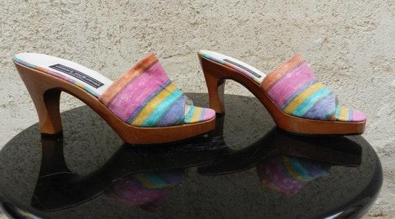 Vintage 90s colorful heel mules Stuart Weitzman - image 4