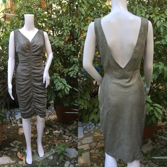 Amazing original 60s silver lamè cocktail dress