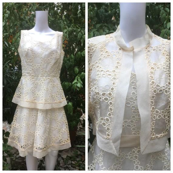 Vintage 60s carved organza white cream dress