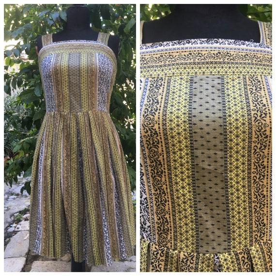 Amazing original 50s striped sun dress yellow blac