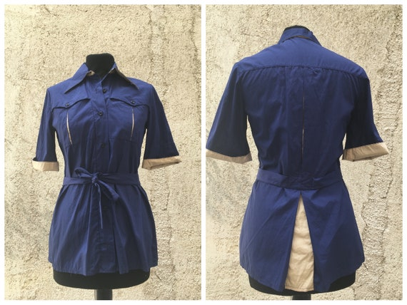 Vintage 1970s does 1950s blue cotton blouse