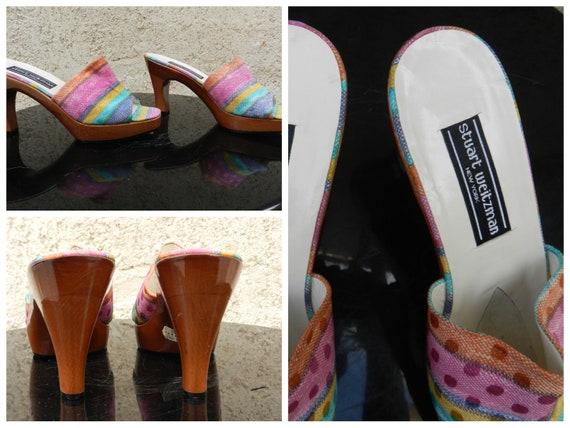 Vintage 90s colorful heel mules Stuart Weitzman - image 1