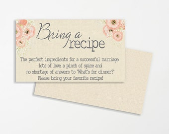 shabby chic printable wedding recipe cards recipe for marriage bridal shower recipe cards wedding printable bridal shower printable