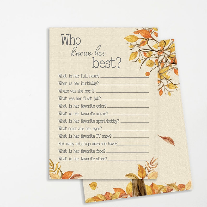 INSTANT DOWNLOAD Rustic Shower Fall Decor Shower Game Printable Card Who Knows the Bride Best Who Knows Her Who Knows Mom