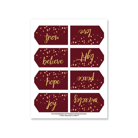 printable christmas gift tags red and gold christmas etsy