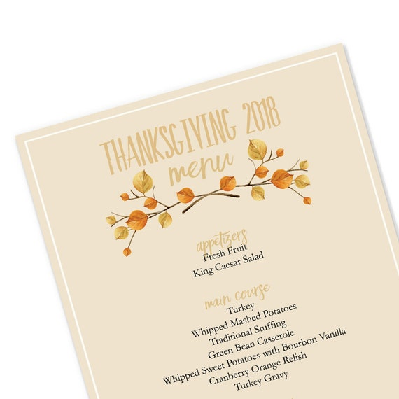 thanksgiving 2018 printable thanksgiving menu template etsy