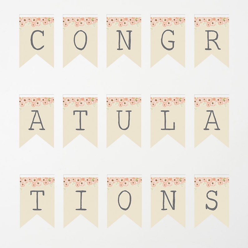 image about Congratulations Banner Free Printable titled Printable Banner Congratulations Banner Boy or girl Shower Banner Bridal Wedding ceremony Banner Prompt Obtain Printable Party Banner Bunting