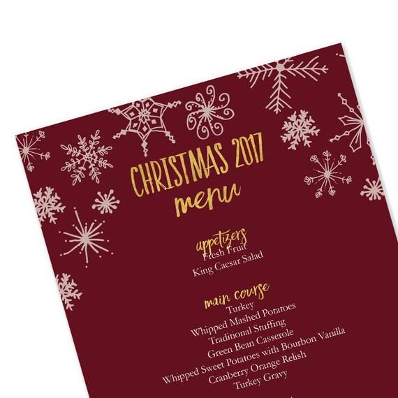 Weihnachten 2017 editierbare Menüvorlage Rot und Gold   Etsy