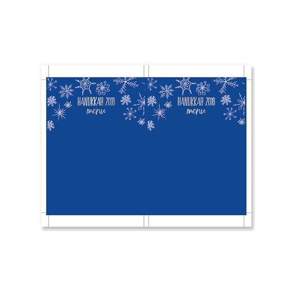 Printable Hanukkah Decor Menu Template Blue And Silver Snowflakes Printable Hanukkah Decor Instant Download Microsoft Word Template