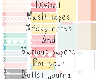 Digital washi tapes, sticky notes, paper and tags for your digital billet journal