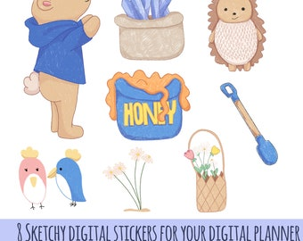 8 Sketchy digital stickers for your digital planner in .PNG and Goodnotes files